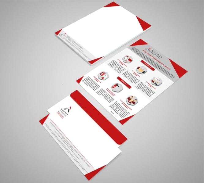 Papier en-tête, carte de correspondance et charte de qualité