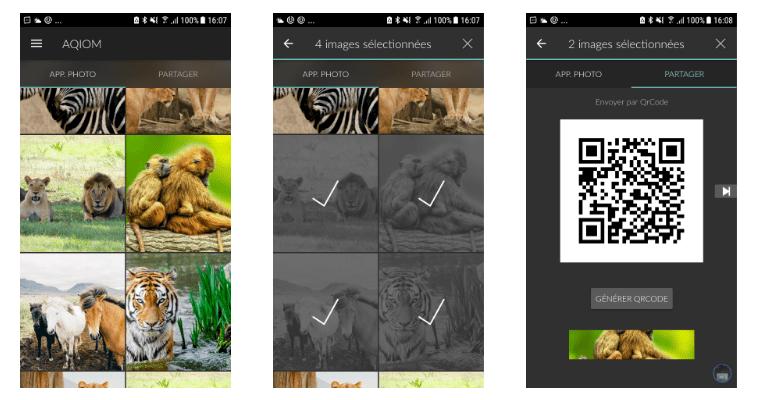Capture d'écrans de la version 1 de l'application Aqiom